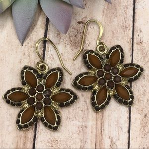 🌼3/$30🌼 Brown Daisy Dot Flower Dangle Earrings